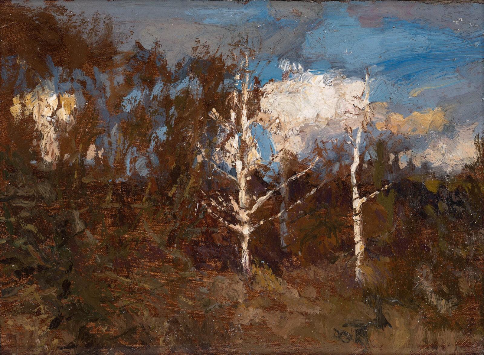 Liza Visagie - Winter Birch Trees. Oil on Linen 5 x 9 inches