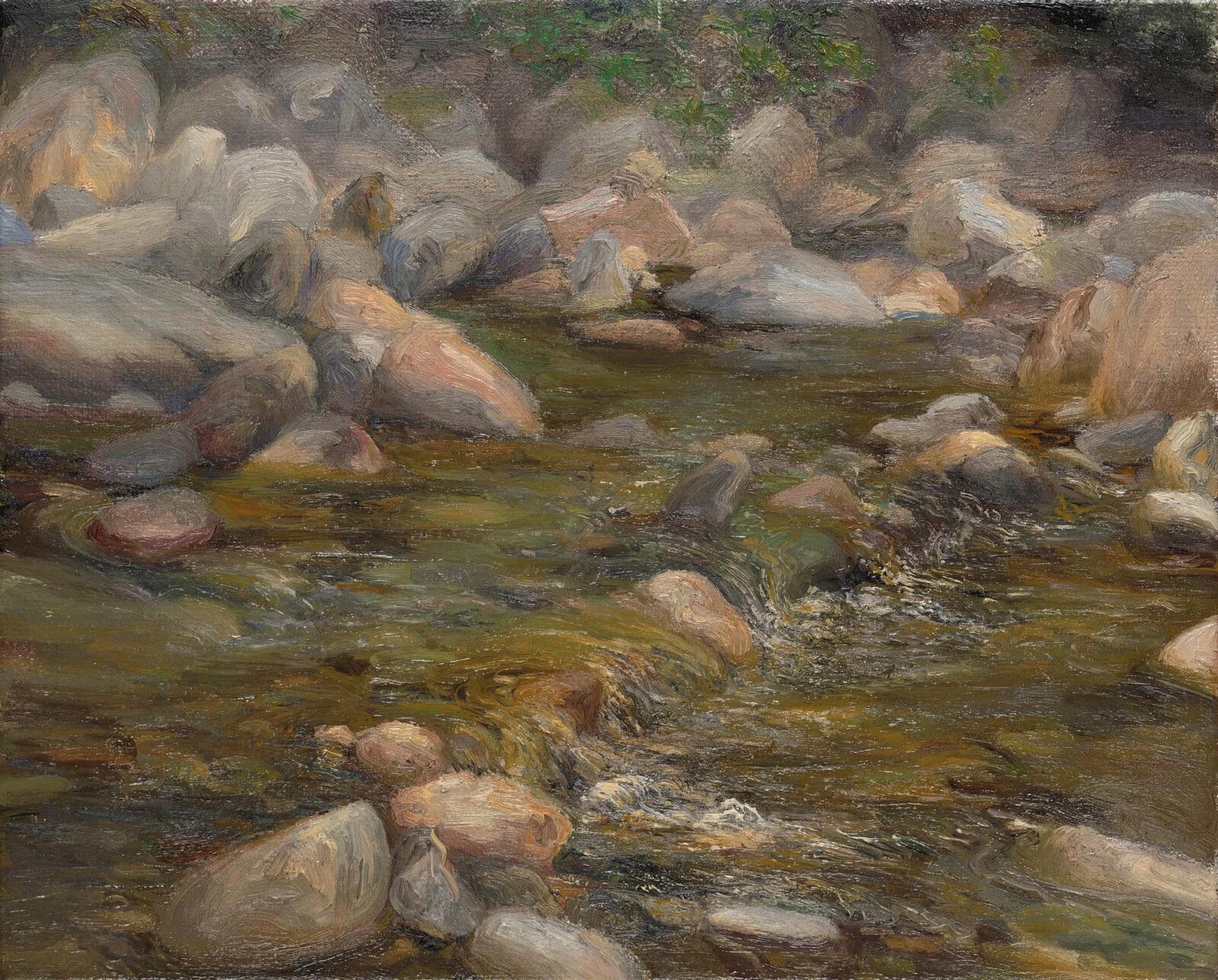Liza Visagie - Riverscape #3. Oil on Linen 9 x 11 inches