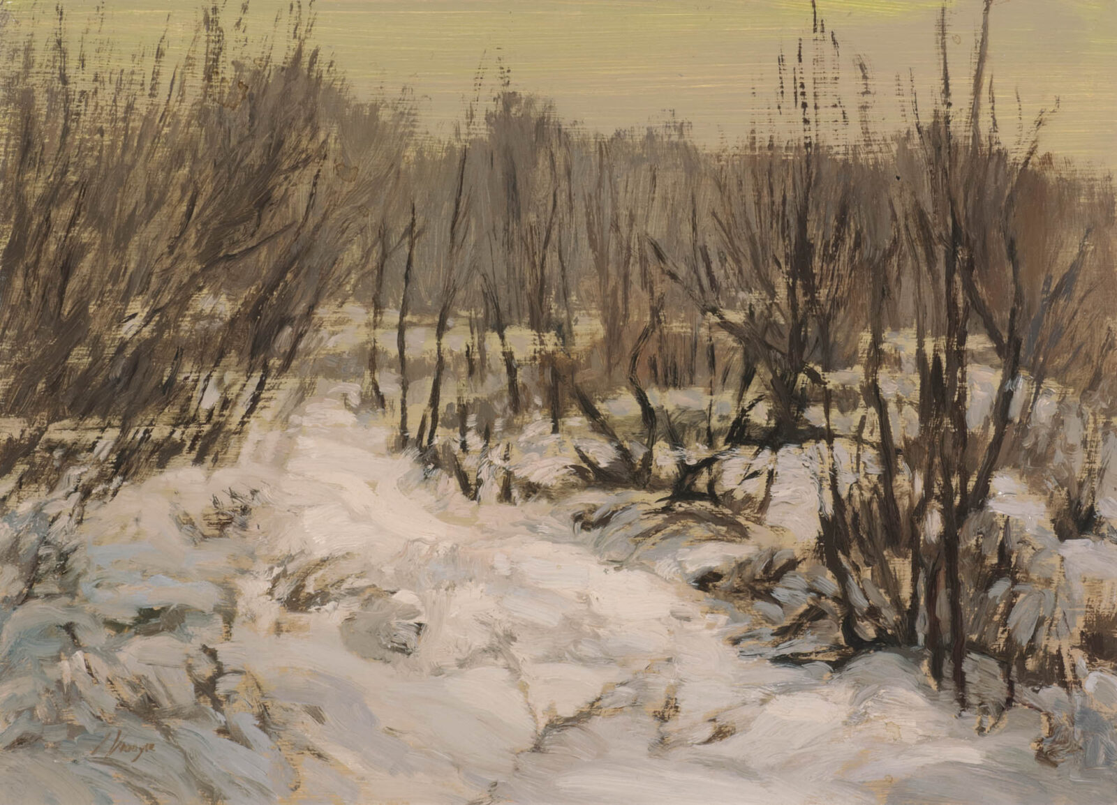 Liza Visagie - Silent Snow. Oil on Linen 6.5 x 9 inches