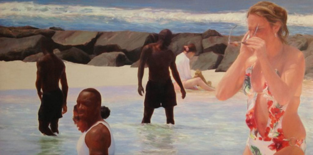 Liza Visagie - The Tidal Pool. Oil on Linen 36 x 72 inches