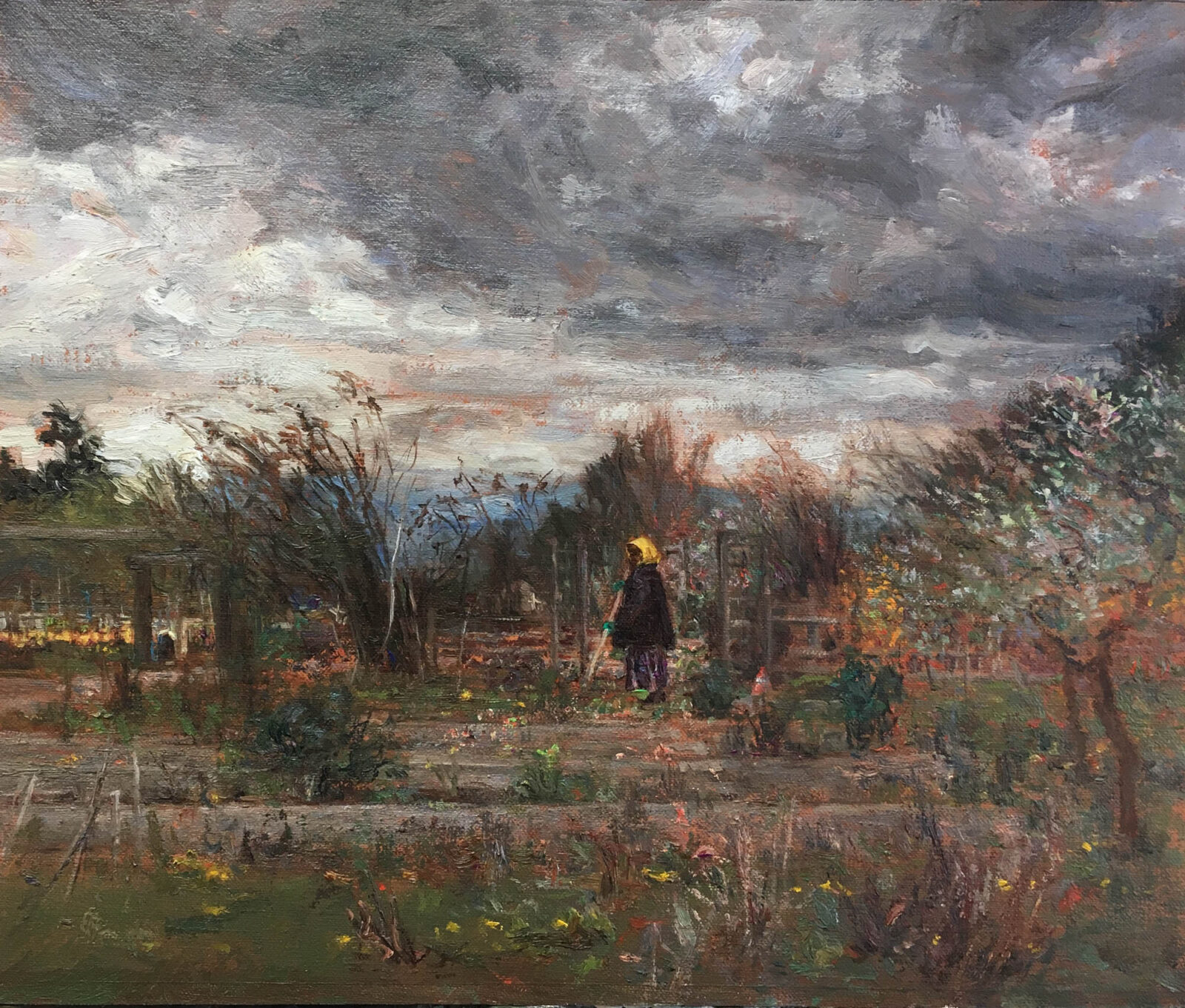 Liza Visagie - Community Garden. Oil on Linen 10 x 12.5 inches