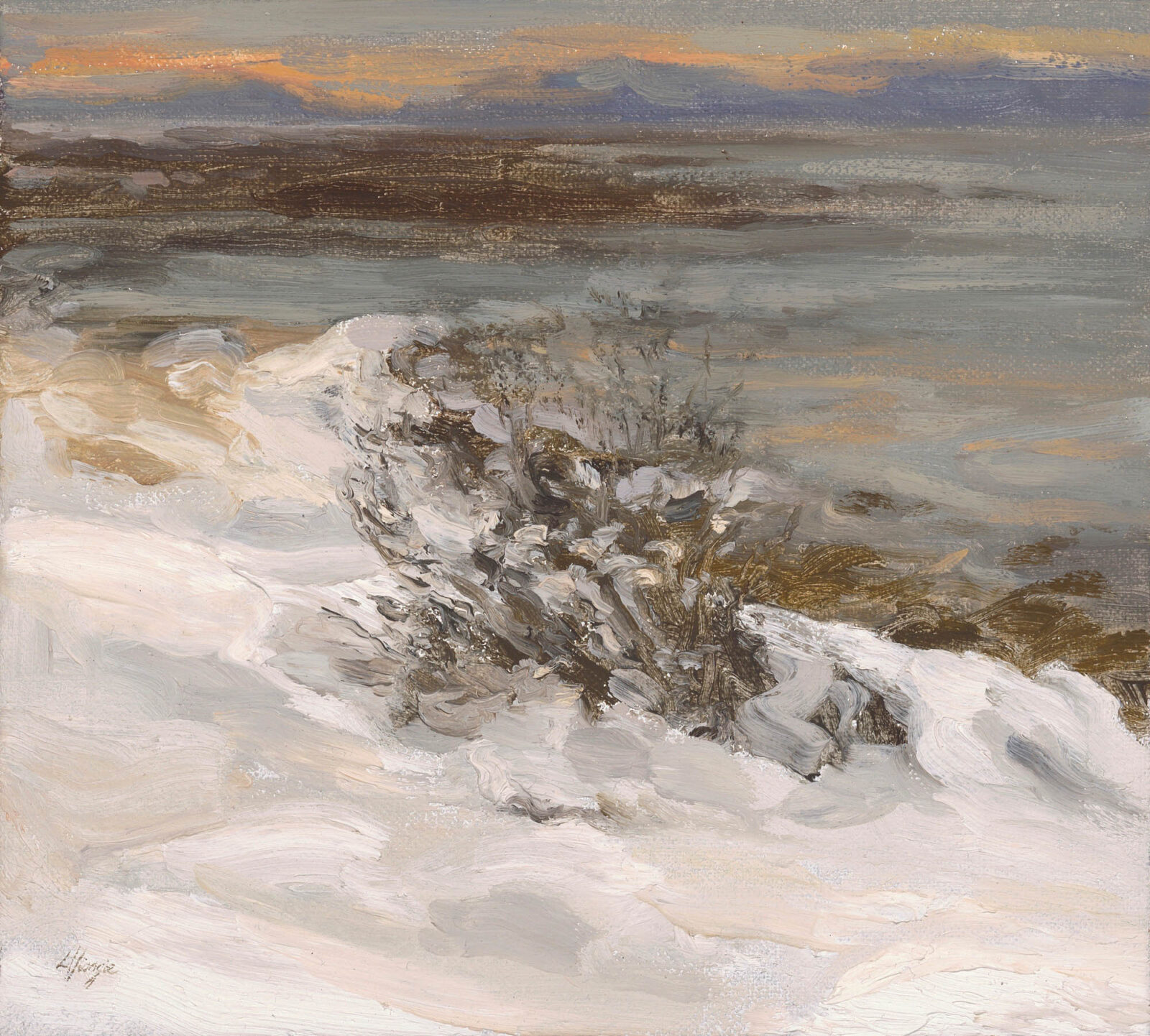 Liza Visagie - Stretch of Snow and Sea. Oil on Linen 9 x 10 inches